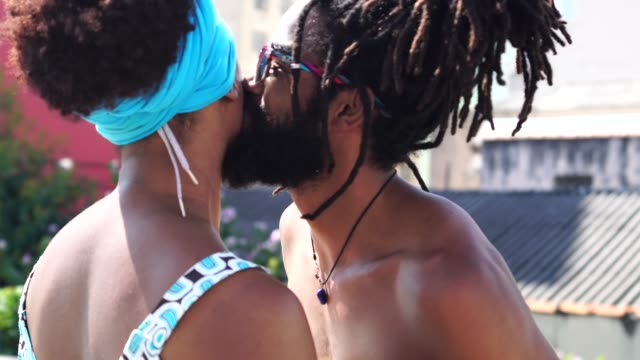 African Romantic Couple Enjoying a Summer day at City