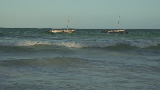 African sailboats off Kenyan coast