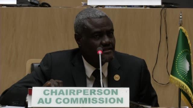 african union chairperson moussa faki mahamat called for calm and restraint following qatar's withdrawal from mediation in djibouti and eritrea as... - ethiopia stock videos & royalty-free footage
