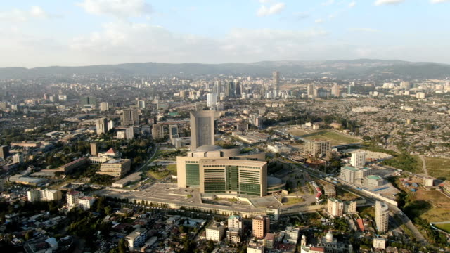 african union commission, addis ababa/aerial view, aerial, addis, ethiopia - horn of africa stock videos & royalty-free footage