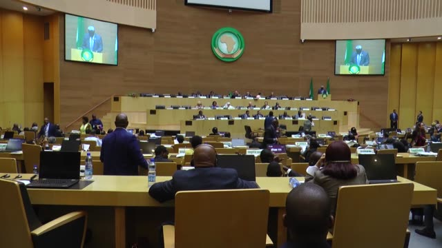 african union commission chairperson moussa faki mahamat delivers his speech at 33th african union summit in addis ababa on february 06, 2020. - chairperson stock videos & royalty-free footage