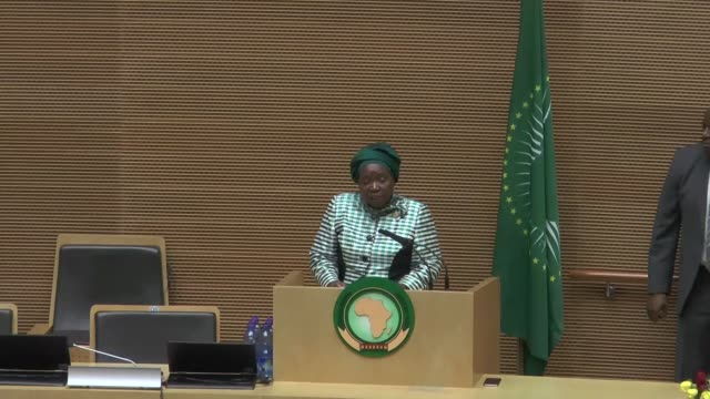 african union commission chairperson nkosazana dlamini zuma gives a speech during the opening ceremony of the 28th ordinary session of the african... - chairperson stock videos & royalty-free footage