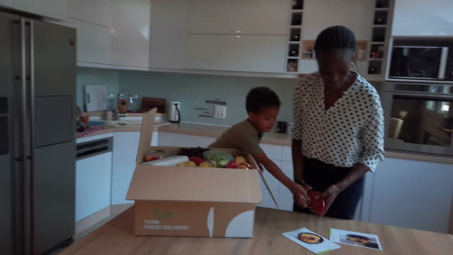 african woman and her son taking out groceries out of box - delivering stock videos & royalty-free footage