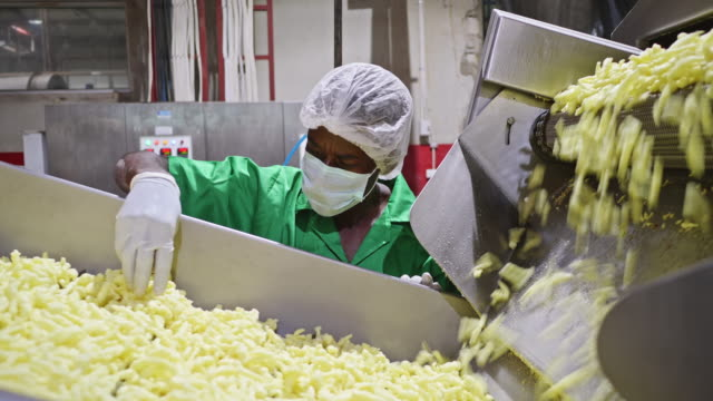 vídeos de stock e filmes b-roll de african worker at a food factory checking the freshly baked chips - fabricar