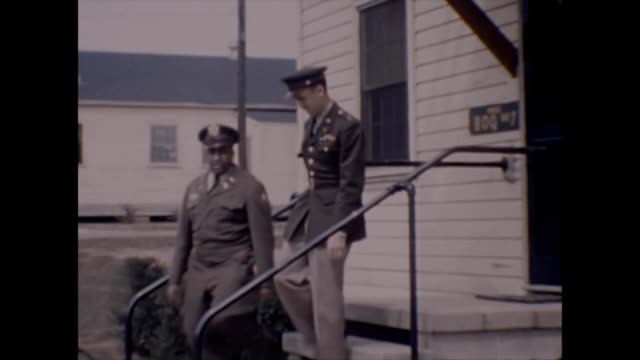1957 african-american army officers at fort gordon - アメリカ黒人の歴史点の映像素材/bロール