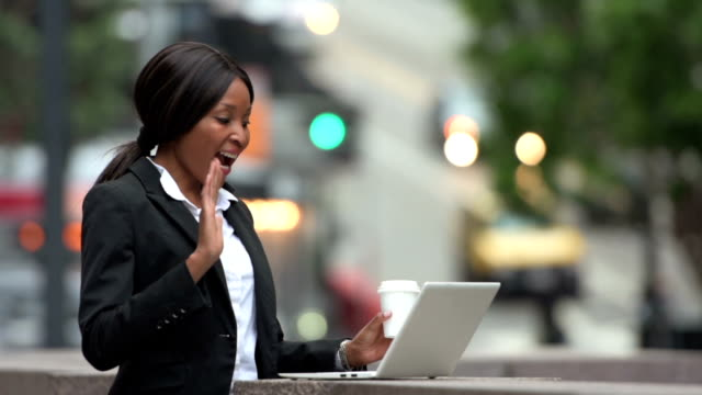African-American businesswoman on video call