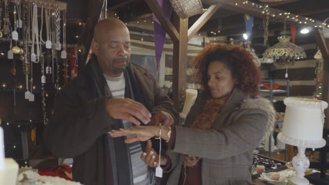 african-american couple shop at antique store - second hand stock videos & royalty-free footage