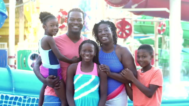 african-american family, three children at water park - family with three children stock videos & royalty-free footage