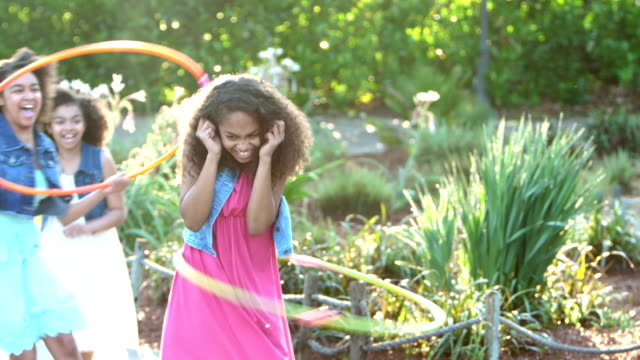 african-american girls playing with hula hoops - 12 13 years stock videos & royalty-free footage