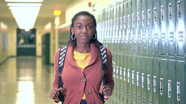 african-american high school student in hallway - 16 17 years stock videos & royalty-free footage