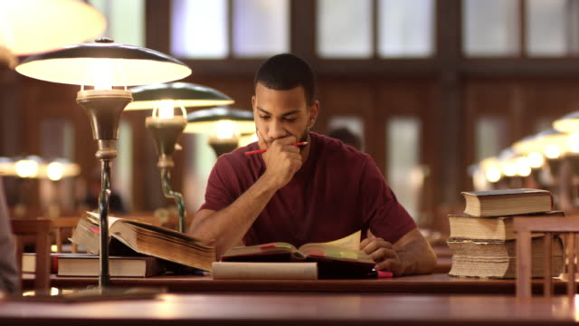 DS African-American male studying in library