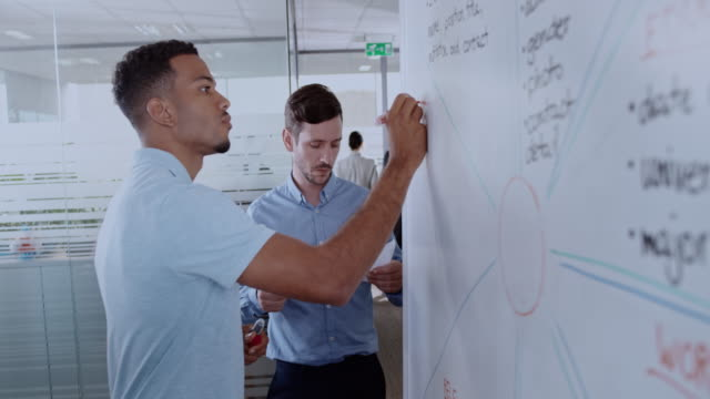African-American man writing a diagram on a whiteboard and his male colleague is helping him