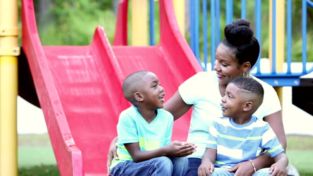 african-american mother and boys on playground - 4 5 years stock videos and b-roll footage