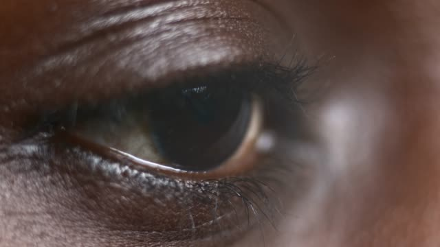 ECU African-American person's brown eye closing