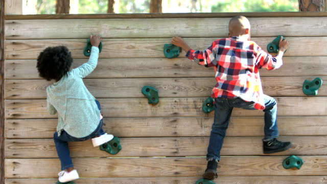 African-American siblings on climbing wall