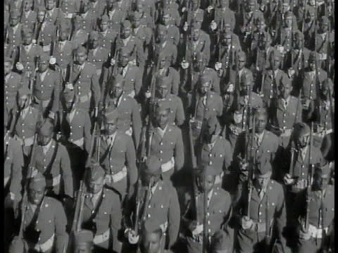 african-american soldiers in uniform marching. wacs in uniform marching. african-american black paratroopers boarding airplane. airplane in flight,... - black history in the us stock videos & royalty-free footage