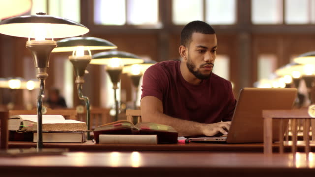 DS African-American student studying in the library with a laptop