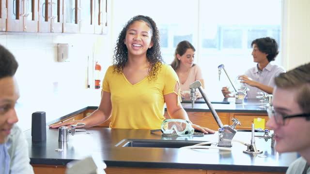 african-american teenage girl in science lab - 16 17 years stock videos & royalty-free footage