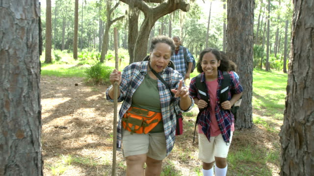 African-American teenage girls with grandparents hiking