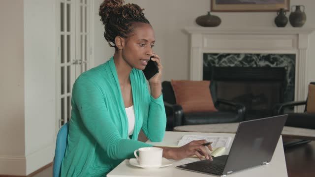 african-american woman working from home office - working from home stock videos and b-roll footage