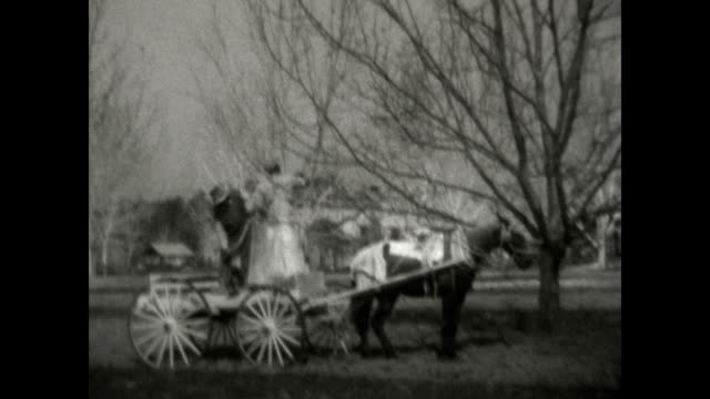 AfricanAmerican workers spray pesticide from a hand pumped barrel onto fruit trees in a orchard / young boy walks up to the carriage but is turned...