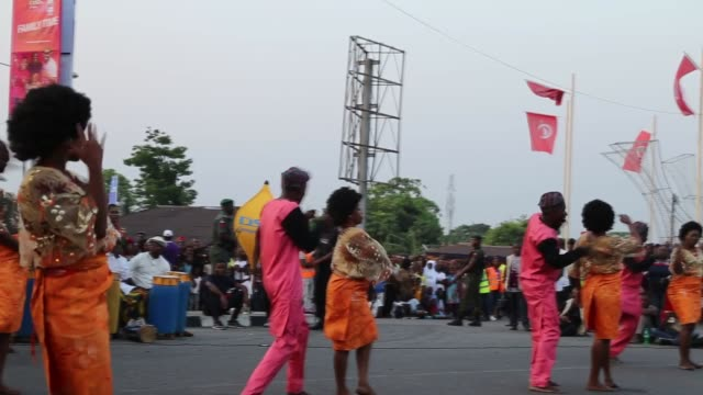 """africa's biggest street party"""", calabar carnival starts on thursday, december 26 in calabra city located on the shores of the gulf of guinea in... - non urban scene stock-videos und b-roll-filmmaterial"""