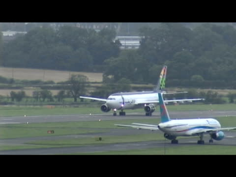 stockvideo's en b-roll-footage met afriqiyah airline aircraft carrying convicted lockerbie bomber abdelbaset ali almegrahi prepares to take flight following release from prison glasgow... - dumfries en galloway