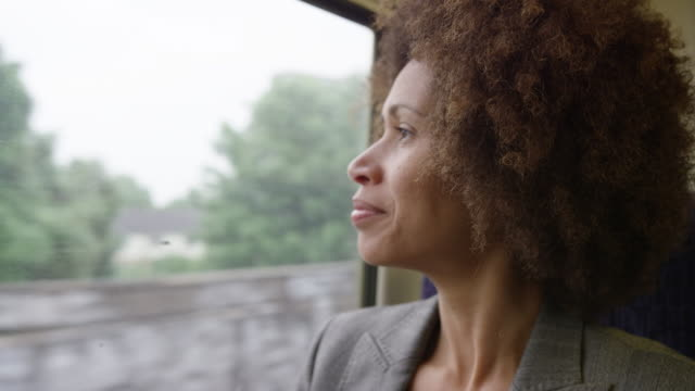 Afro American commuter on her way to work looking out of the window