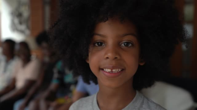 afro child smiling portrait at home - pardo brazilian stock videos & royalty-free footage