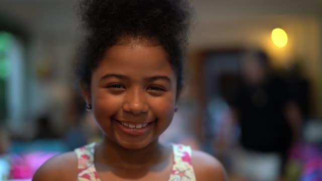 afro child smiling portrait - pardo brazilian stock videos & royalty-free footage