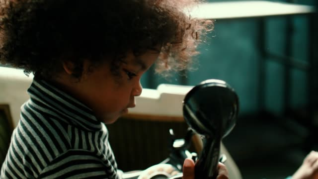 afro girl playing rotary phone - telephone dial stock videos & royalty-free footage