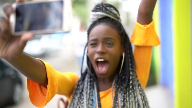 afro woman taking a selfie - pardo brazilian stock videos & royalty-free footage