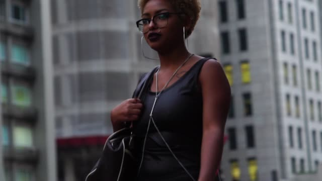 afro woman walking and in the city - pardo brazilian stock videos & royalty-free footage