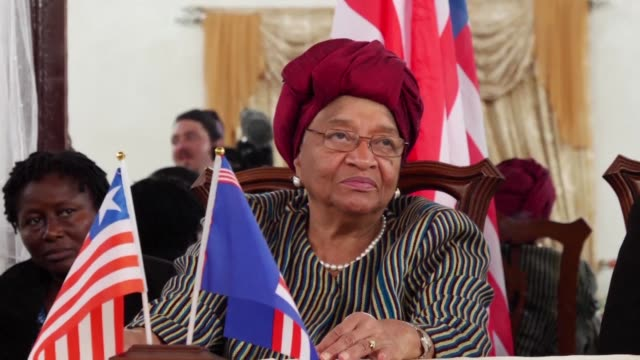 after 12 years in power ellen johnson sirleaf is making her final tour as president of liberia before passing on her duties to her successor former... - nachfolger stock-videos und b-roll-filmmaterial