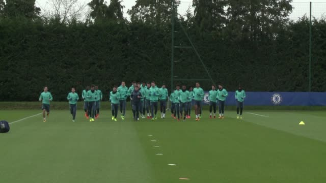 after a disastrous start to the season chelsea train ahead of their champions league encounter with paris sg on wednesday - cobham training ground stock videos and b-roll footage