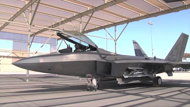 after being grounded in may the f22 raptors are cleared to resume operations footage includes first launches of raptors at nellis air force base - bremskeil stock-videos und b-roll-filmmaterial