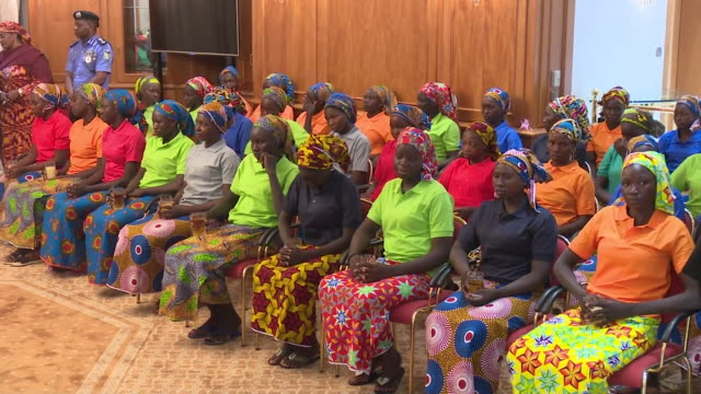 after being held captive by boko haram for 3 years chibok schoolgirls meet nigerian president muhammadu buhari - girls videos stock videos & royalty-free footage