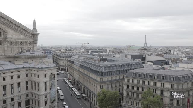after climbing the floors of galeries lafayette, visitors find themselves on a large terrace from which they can see the back of the paris opera and... - オペラ座点の映像素材/bロール