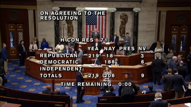 after considering a fiscal 2018 budget resolution and four alternatives over the course of two days the house voted 219206 to adopt the resolution... - united states congress stock videos & royalty-free footage