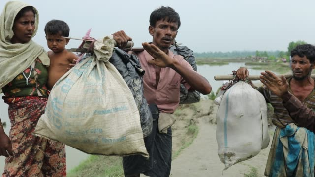 after crossing the bangladesh myanmar naf river border a myanmar rohingya describe the brutal situation he faced in myanmar according to unhcr more... - cox basar stock-videos und b-roll-filmmaterial