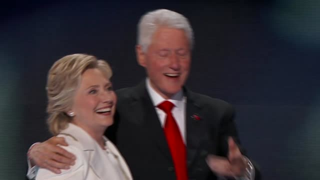 After delivering her acceptance speech Democratic Party Presidential Nominee Hillary Clinton is joined on stage by former President Bill Clinton Vice...