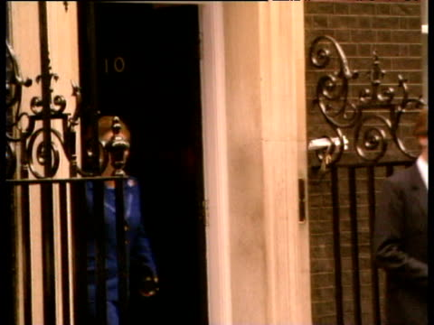 after failing to gain support of cabinet in leadership election prime minister margaret thatcher leaves no 10 downing street to announce her decision... - margaret thatcher stock videos & royalty-free footage
