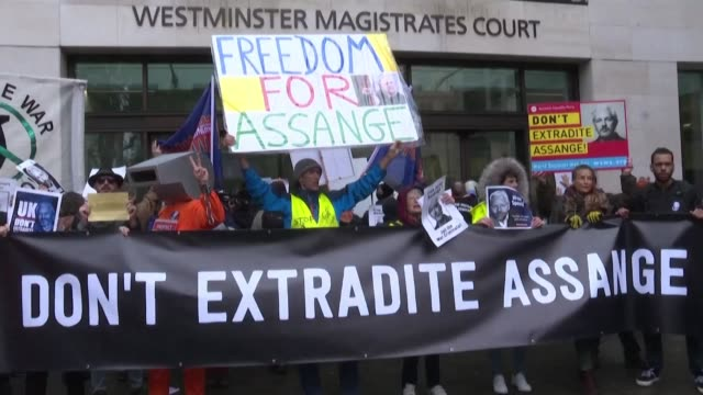 after his extradition hearing in london julian assange's legal team and close personal entourage denounce the solitary confinement like detention... - john pilger stock videos & royalty-free footage