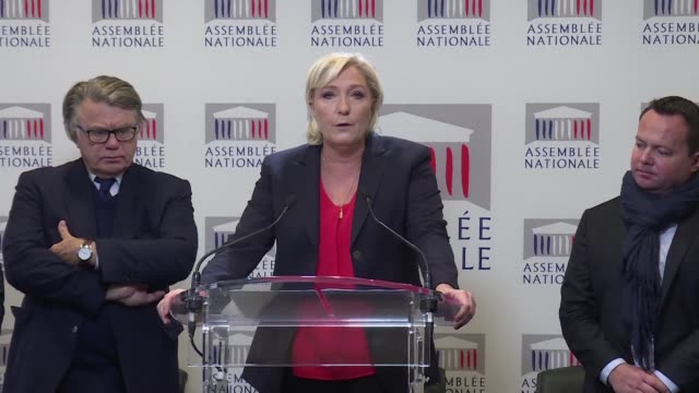 after initially saying they would abstain france's far right national front party on tuesday declared they would be voting against president emmanuel... - national front stock videos and b-roll footage