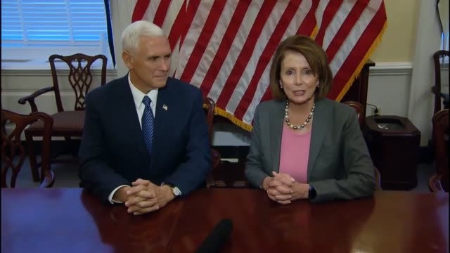after meeting at the capitol building a week after the 2016 election house minority leader nancy pelosi and vice presidentelect mike pence greet the... - nancy pelosi stock videos and b-roll footage