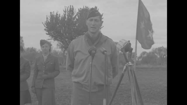 after military inspection us gen mark clark stands in front of microphones in middle of field and speaks to assembled wacs of the fifth army / two... - general military rank stock videos and b-roll footage