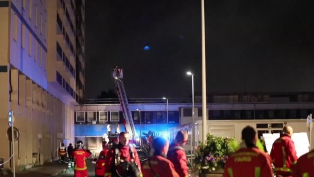 after more than two hours firefighters put out a fire in a building adjacent to the henrimondor hospital in the paris suburb of creteil - next to stock videos and b-roll footage