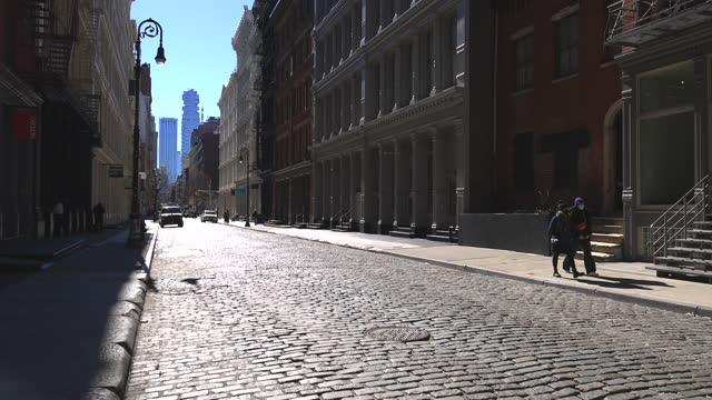 after one year epidemic of coronavirus disease in soho new york city. - loft apartment stock videos & royalty-free footage
