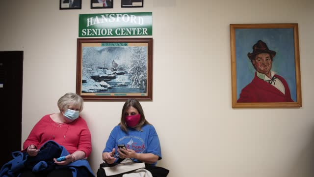 after receiving the vaccine, senior citizens await until they are cleared to leave the hansford senior center in st. albans, west virginia on... - health and safety stock videos & royalty-free footage