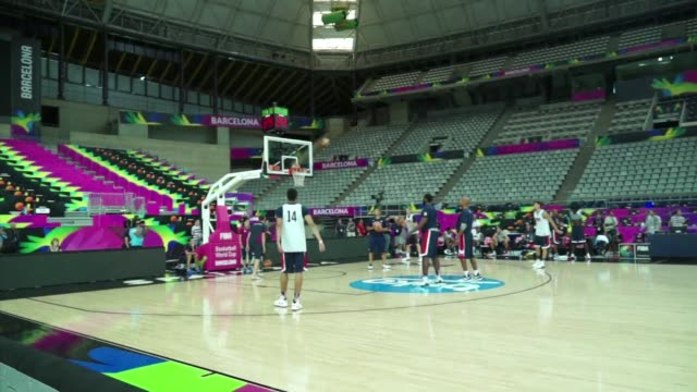 after slamming their way passed slovenia in the fiba basketball world cup in barcelona team usa began their preparations on wednesday for their semi... - 2014 stock videos and b-roll footage